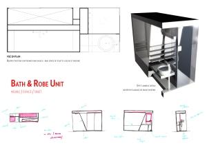 Bath & Robe Unit, plan et croquis